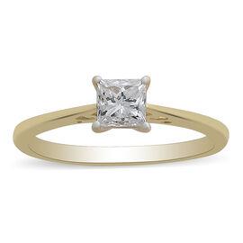 ILIANA 18K Yellow Gold IGI Certified Diamond (Sqr) (SI/G-H) Solitaire Ring 0.720 Ct.