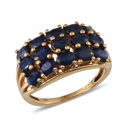 Kanchanaburi Blue Sapphire (Ovl) Ring in 14K Gold Overlay Sterling Silver 3.750 Ct.