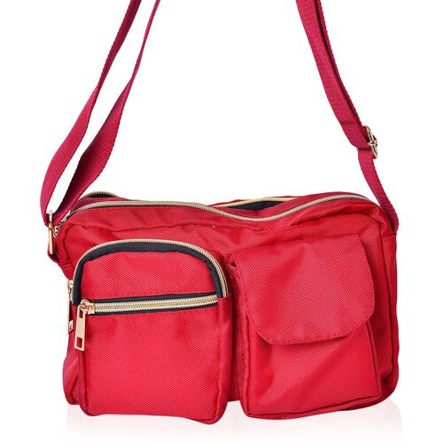 Red Colour Multi Pocket Waterproof Crossbody Bag with Adjustable Shoulder Strap (Size 25X17X8 Cm)