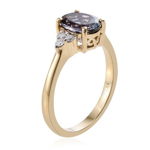 ILIANA 18K Yellow Gold 2.15 Ct Rare AAA Green Tanzanite Ring with Diamond SI G-H