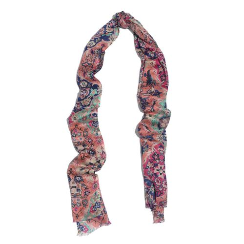 100% Viscose Blue and Multi Colour Printed Scarf (Size 180x55 Cm)