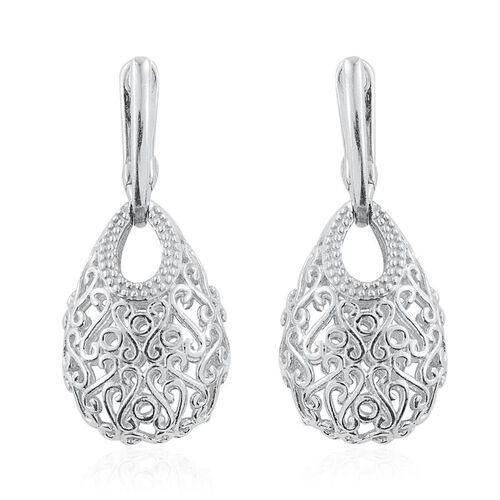 J Francis - Platinum Overlay Sterling Silver (Rnd) Filigree Earrings (with Latch Back) Made with SWAROVSKI ZIRCONIA. Total Silver Wt 8.00 Gms