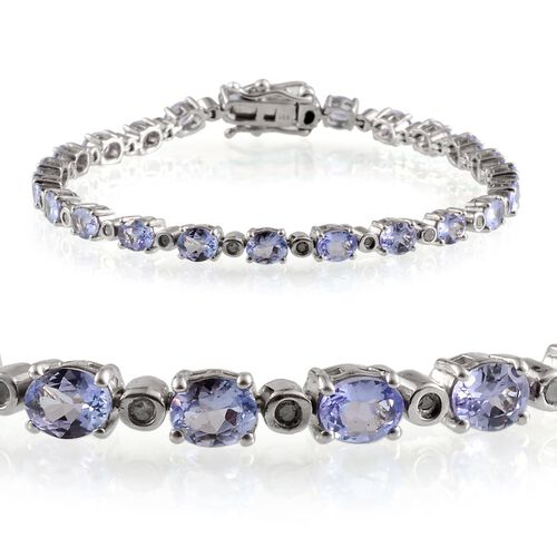 AA Tanzanite (Ovl), Diamond Bracelet in Platinum Overlay Sterling Silver (Size 7) 7.400 Ct.