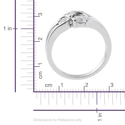 J Francis - Platinum Overlay Sterling Silver (Rnd) 2 Ring Set Made with SWAROVSKI ZIRCONIA