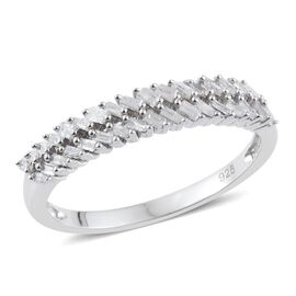 Designer Inspired Diamond Eternity Ring in Platinum Overlay Sterling Silver 0.330 Ct.