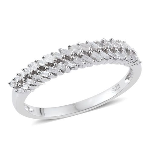 Designer Inspired Diamond Eternity Ring in Platinum Overlay Sterling Silver 0.330 Ct.