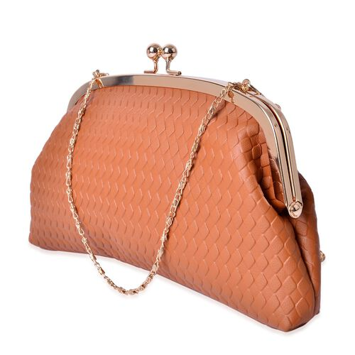 Diamond Pattern Tan Colour Clutch (Size 27x13.5 Cm)