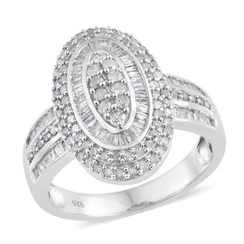 DOD - Diamond (Rnd) Cluster Ring in Platinum Overlay Sterling Silver 1.325 Ct. Silver wt 6.98 Gms. Number of Diamonds 164