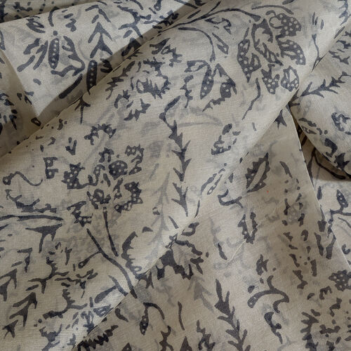 100% Mulberry Silk Arctic Ice Tossed Printed Cream and Grey Colour Stole (Size 180x50 Cm)