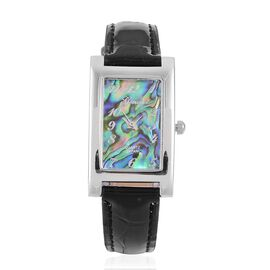 GENOA Japanese Movement Abalone Shell Dial Water Resistant Watch in Silver Tone with Stainless Steel Back and Black Colour Strap