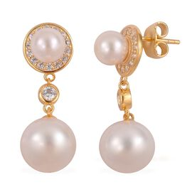 South Sea White Pearl (Rnd 11-12mm), Japanese Akoya Pearl and Natural White Cambodian Zircon Dangling Earrings (with Push Back) in Yellow Gold Overlay Sterling Silver