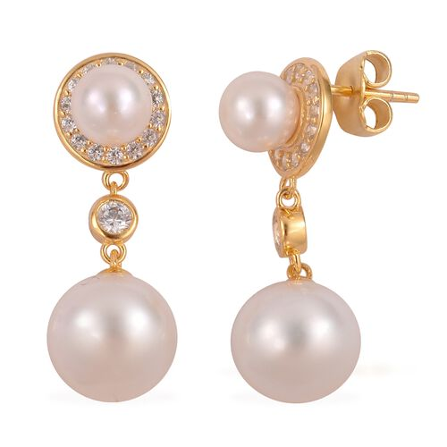 South Sea White Pearl (11-12mm), Japanese Akoya Pearl and Natural White Cambodian Zircon Dangling Earrings in Gold Plated Silver (with Push Back)