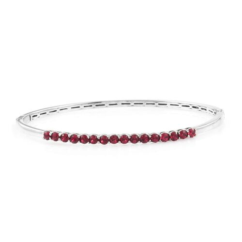 Set of 2 - J Francis Crystal from Swarovski - Ruby and Tanzanite Colour Crystal (Rnd) Bangle (Size 7.5) in ION Plated Platinum Bond