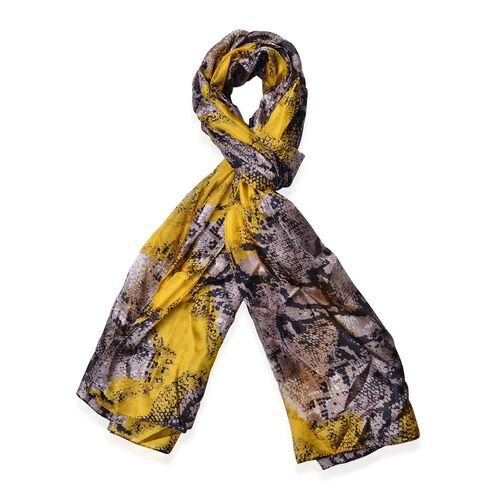 100% Mulberry Silk Black and Grey Colour Snake Pattern Yellow Colour Scarf (Size 180x110 Cm)