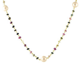 Fresh Water Pearl and Black Tourmaline Necklace (Size 18 with 1 inch Extender) in Yellow Gold Overlay Sterling Silver 33.000 Ct.