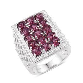 Rhodolite Garnet (Rnd) Ring in Platinum Overlay Sterling Silver 5.250 Ct.