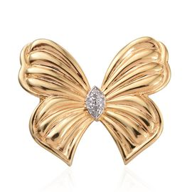 Diamond (Rnd) Butterfly Brooch in ION Plated 18K Yellow Gold Bond