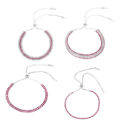 Christmas Sparkle Deal -Set of 4 AAA Fuchsia and White Austrian Crystal Adjustable Bolo Bracelet (Size 6 to 9)