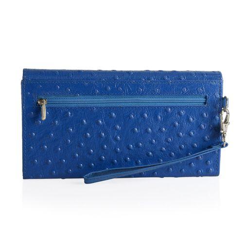 Genuine Leather RFID Blocker Blue Colour Ostrich Pattern Bi-Fold Ladies Wallet (Size 20x11x2 Cm)