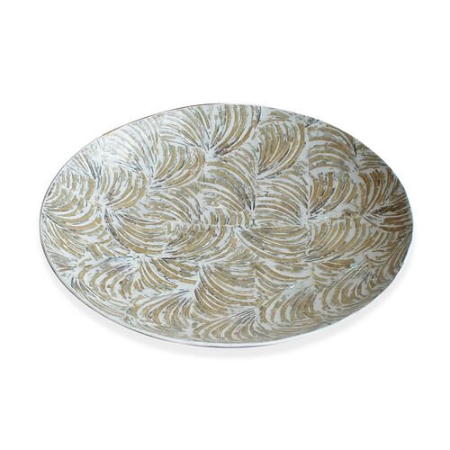 Round Shape Bowl Flat Shell Inlay in White Resin (Size 30x30 Cm)