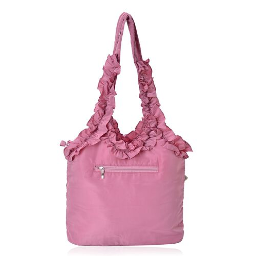 3D Rose Flowers and Ruffle Embellished Pink Colour Tote Bag (Size 31X26.5X10 Cm)
