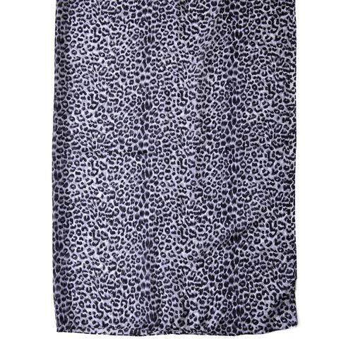 100% Mulberry Silk Black and White Colour Leopard Pattern Scarf (Size 180X110 Cm)