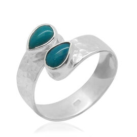 Royal Bali Collection Arizona Sleeping Beauty Turquoise (Pear) Crossover Ring in Sterling Silver 0.750 Ct.