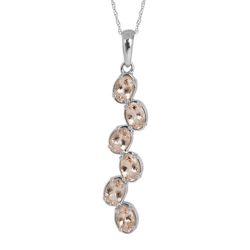 9K W Gold Marropino Morganite (Ovl) Pendant With Chain 2.250 Ct.