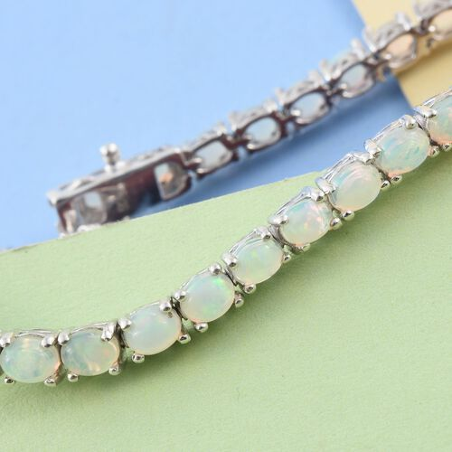 Ethiopian Welo Opal (Ovl) Bracelet (Size 6.5) in Platinum Overlay Sterling Silver 4.750 Ct.