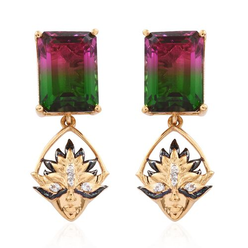 GP Tourmaline Colour Quartz (Oct), Natural Cambodian Zircon and Kanchanaburi Blue Sapphire Earrings (with Push Back) in 14K Gold Overlay Sterling Silver 17.750 Ct.