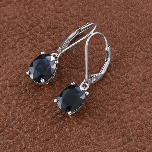 Rare Size Rajasthan Blue Sapphire (Ovl) Lever Back Earrings in Platinum Overlay Sterling Silver 5.000 Ct.