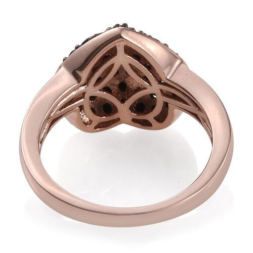 Boi Ploi Black Spinel Heart Silver Ring in Rose Gold Overlay 2.250 Ct.