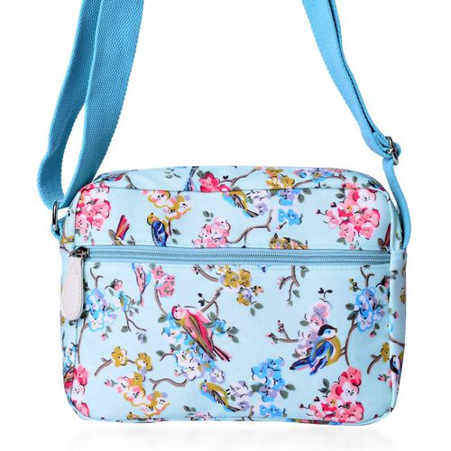 Light Blue and Multi Colour Floral and Birds Pattern Crossbody Bag with External Zipper Pocket and Adjustable Shoulder Strap (Size 23X18.5X7.5 Cm)