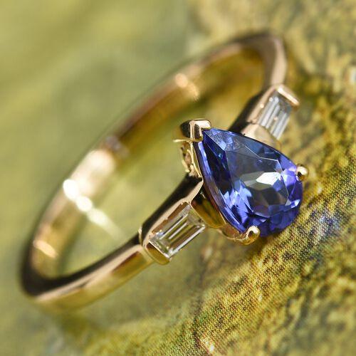 ILIANA 1 Carat AAA Tanzanite and Diamond (SI/G-H) Ring in 18K Gold