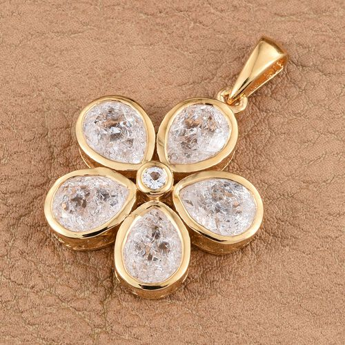 Diamond Crackled Quartz (Pear), White Topaz Floral Pendant in 14K Gold Overlay Sterling Silver 5.250 Ct.