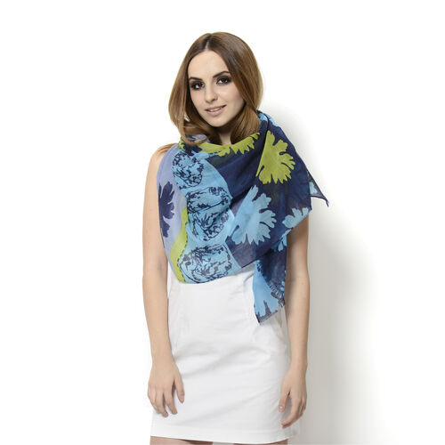 100% Wool Floral Pattern Blue, Turquoise and Multi Colour Scarf (Size 180x100 Cm)