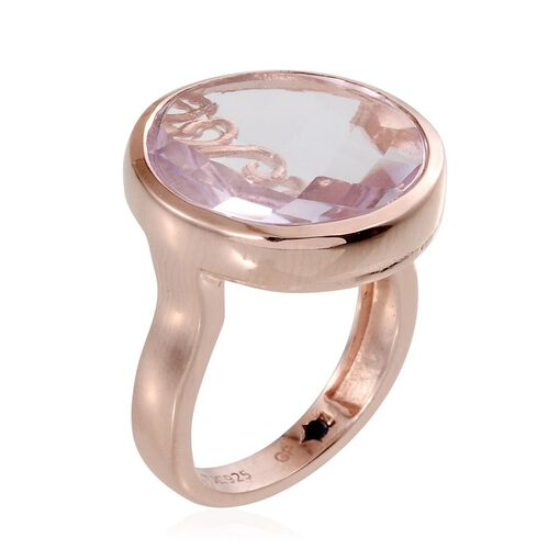 GP Rose De France Amethyst (Rnd 17.00 Ct), Kanchanaburi Blue Sapphire Ring in Rose Gold Overlay Sterling Silver 17.010 Ct.