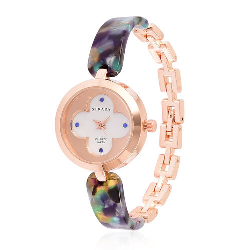 Designer Inspired-STRADA Japanese Movement Blue Austrian Crystal Studded White Dial Water Resistant Watch in Rose Gold Tone with Stainless Steel Back and Multi Colour Strap