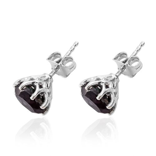 Colour Change Alexandrite Quartz (Rnd) Stud Earrings (with Push Back) in Platinum Overlay Sterling Silver 4.250 Ct.