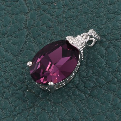 J Francis Crystal from Swarovski - Amethyst Colour Crystal (Ovl) Solitaire Pendant in Sterling Silver