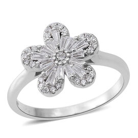 ELANZA AAA Simulated White Diamond (Bgt and Rnd) Flower Ring in Rhodium Plated Sterling Silver