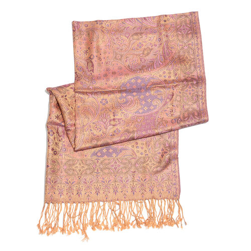 SILK MARK- 100% Superfine Silk Golden, Pink and Multi Colour Jacquard Jamawar Scarf with Tassels (Size 180x70 Cm)