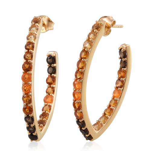 Citrine, Brazilian Smoky Quartz and Jalisco Fire Opal Hoop Earrings (with Push Back) in Yellow Gold Overlay Sterling Silver 3.468 Ct. Silver wt 6.50 Gms.