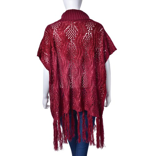 Winter Special - Merlot Colour Wavy Pattern Knitted High Neck Vest with Tassels (Size 70x60 Cm)