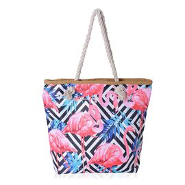Pink, Blue and Multi Colour 3D Flamingo and Woven Pattern Tote Bag (Size 46x39x32x13.5 Cm)