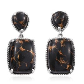 Mojave Black Turquoise (Cush) Earrings (with Push Back) in Platinum Overlay Sterling Silver 24.000 Ct.