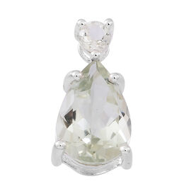 Green Amethyst (Pear) Pendant in Sterling Silver 4.150 Ct.
