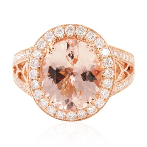 ILIANA 18K R Gold AAA Rare Size Marropino Morganite (Ovl 4.15 Ct), Diamond Ring 5.00 Ct.