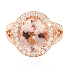 ILIANA 18K R Gold AAA Very Rare Size Top Grade Marropino Morganite (Ovl 4.15 Ct), Diamond (SI Graded - G-H Colour) Ring 5.00 Ct.