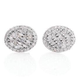 Designer Inspired - Diamond (Bgt) Stud Earrings (with Push Back) in Platinum Overlay Sterling Silver 0.330 Ct.